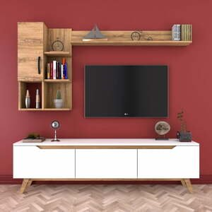 Set bieleho TV stolíka a 2 nástenných políc v dekore orechového dreva Nut