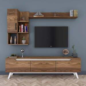 Set TV stolíka a 2 nástenných políc v drevenom dekore Nut