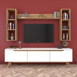 Set bieleho TV stolíka a 3 nástenných políc Wren