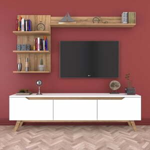 Set bieleho TV stolíka a 2 nástenných políc v dekore orechového dreva Wren