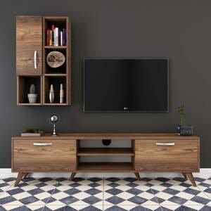 Set TV komody a nástennej police v dekore orechového dreva Wren