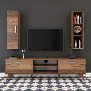 Set TV komody, nástennej police a skrinky v dekore orechového dreva Wren