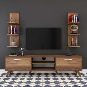 Set 2 nástenných políc a TV stolíka v drevenom dekore Wren