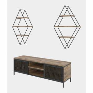 Set TV komody a 2 nástenných políc v borovicovom dekore Prizma