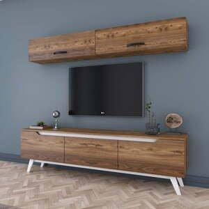 Set nástennej skrinky a TV stolíka v drevenom dekore Wren