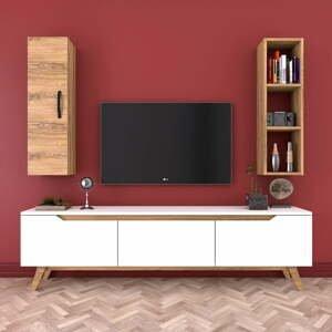 Set bieleho TV stolíka, nástennej police a skrinky v dekore orechového dreva Wren