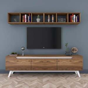 Set TV komody a nástennej police v dekore orechového dreva