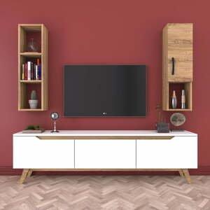 Set bielej TV komody, nástennej police a skrinky v drevenom dekore