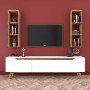 Set bielej TV komody a 2 nástenných políc v drevenom dekore