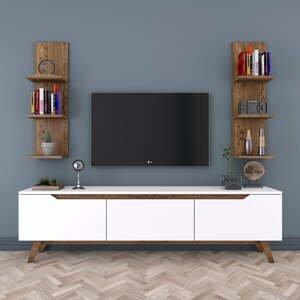 Set bieleho TV stolíka a 2 nástenných políc v dekore orechového dreva Rani