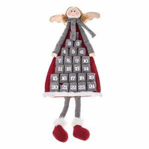 Textilný závesný adventný kalendár v tvare anjela Dakls, dĺžka 110 cm