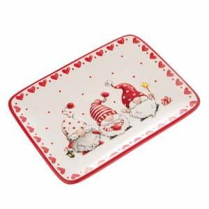 Červeno-biely keramický servírovací tanier s motívom trpaslíkov Dakls