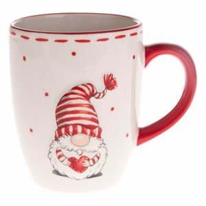 Červeno-biely keramický hrnček s motívom trpaslíka Dakls