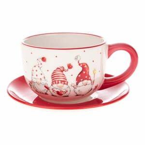 Červeno-biely keramický hrnček s podšálkou s motívom trpaslíka Dakls
