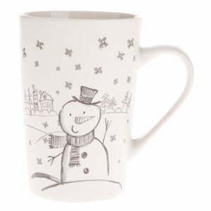 Biely porcelánový hrnček s motívom snehuliaka Dakls