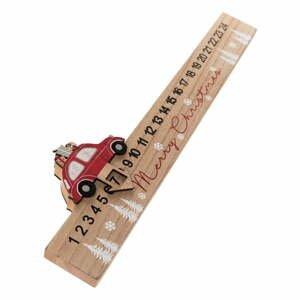 Drevený podlhovastý adventný kalendár Auto Dakls, dĺžka 40 cm