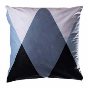Modro-sivý vankúš JAHU Geometry Triangle, 45 x 45 cm