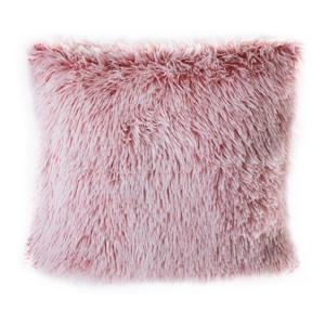 Ružový vankúš s vysokým vlasom JAHU Peluto, 45 x 45 cm