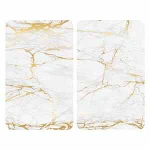 Sada 2 sklenených krytov na sporák v bielo-zlatej farbe Wenko Marble, 52 x 30 cm