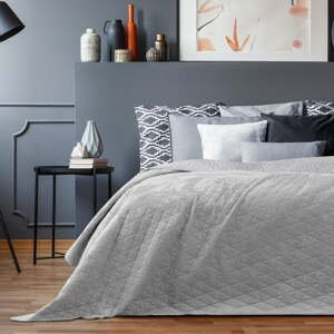 Sivý pléd cez posteľ AmeliaHome Laila Silver, 260x240cm