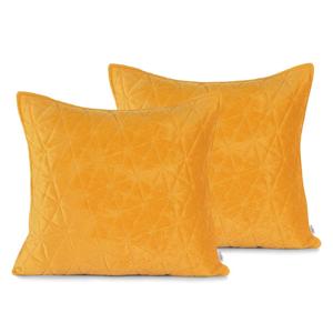 Súprava 2 žltých obliečok na vankúš AmeliaHome Laila, 45 × 45 cm
