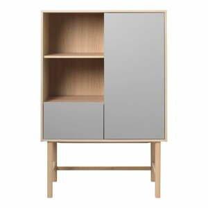 Sivá komoda s nohami z dubového dreva Unique Furniture Bilbao