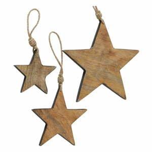 Sada 3 vianočných závesných dekorácií z mangového dreva Boltze Paimio