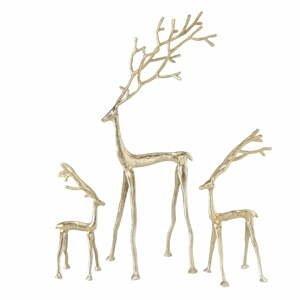 Sada 3 vianočných dekorácií v zlatej farbe Boltze Frody