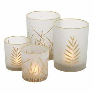 Sada 4 bielych sklenených svietnikov Boltze Narino