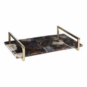 Podnos z kameňa čierneho achátu Premier Housewares Bowerbird, dĺžka 36 cm
