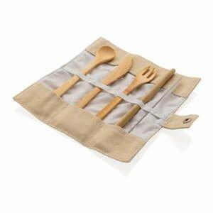 Cestovný set bambusových príborov so slamkou, čistiacou kefkou a obalom XD Collection