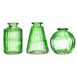 Sada 3 zelených sklenených váz Sass & Belle Bud