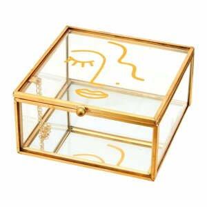 Škatuľka na šperky s detailmi v zlatej farbe Sass & Belle Abstract Face