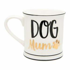 Biely hrnček s detailmi v čierno-zlatej farbe Sass & Belle Metallic Dog, 400 ml
