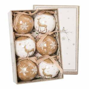 Sada 6 béžovo-bielych vianočných ozdôb Unimasa Deers