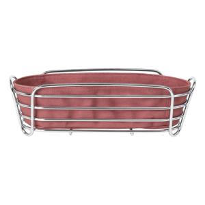 Ružová bavlnená nádoba na pečivo so stojanom v striebornej farbe Blomus