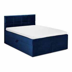Modrá zamatová dvojlôžková posteľ Mazzini Beds Mimicry,200x 200cm
