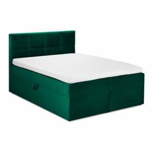 Zelená zamatová dvojlôžková posteľ Mazzini Beds Mimicry,200x200cm
