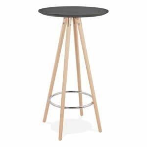 Čierny barový stôl s prírodnými nohami Kokoon Deboo, výška 110 cm