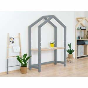 Sivý drevený domčekový stôl s béžovou doskou Benlemi Stolly, 97 x 133 cm