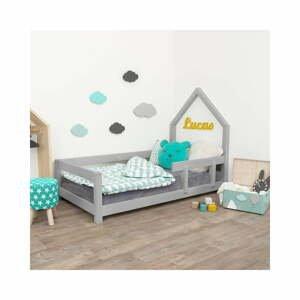 Sivá detská posteľ domček s pravou bočnicou Benlemi Poppi, 70 x 160 cm