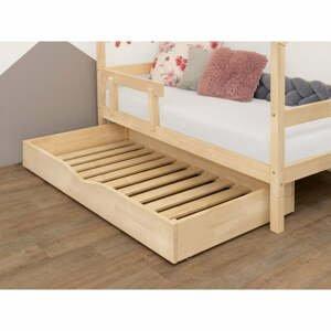 Prírodná drevená zásuvka pod posteľ s roštom a plným dnom Benlemi Buddy, 70 x 140 cm