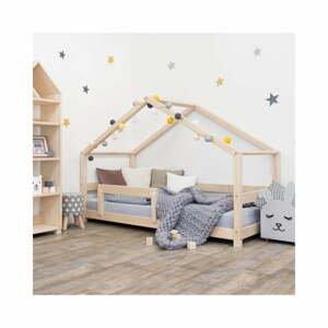 Prírodná detská posteľ domček s bočnicou Benlemi Lucky, 80 x 180 cm