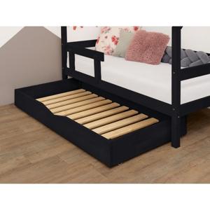 Čierna drevená zásuvka pod posteľ s roštom a plným dnom Benlemi Buddy, 70 x 140 cm