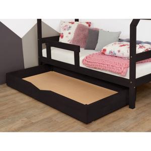 Čierna drevená zásuvka pod posteľ s roštom a plným Benlemi Buddy, 120 x 180 cm