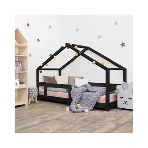 Čierna detská posteľ domček s bočnicou Benlemi Lucky, 70 x 160 cm