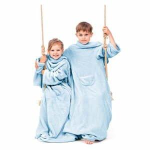 Svetlomodrá detská televízna deka s rukávmi DecoKing Lazykids