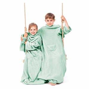 Zelená detská televízna deka s rukávmi DecoKing Lazykids