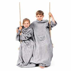 Sivá detská televízna deka s rukávmi DecoKing Lazykids