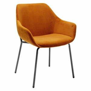 Set 2 oranžových zamatových stoličiek s opierkami Kare Design Avignon